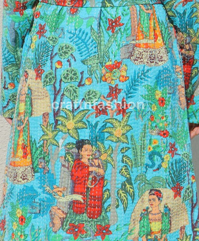 Reversible Kantha Work Bath Robe