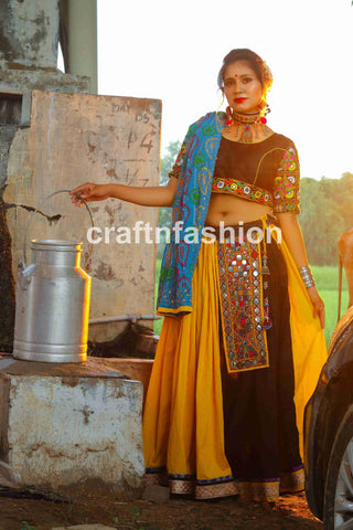 Kutch vintage patch Mirror work Chaniya Choli