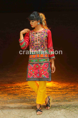 Multicolored Embroidered Sindh Top Tunic