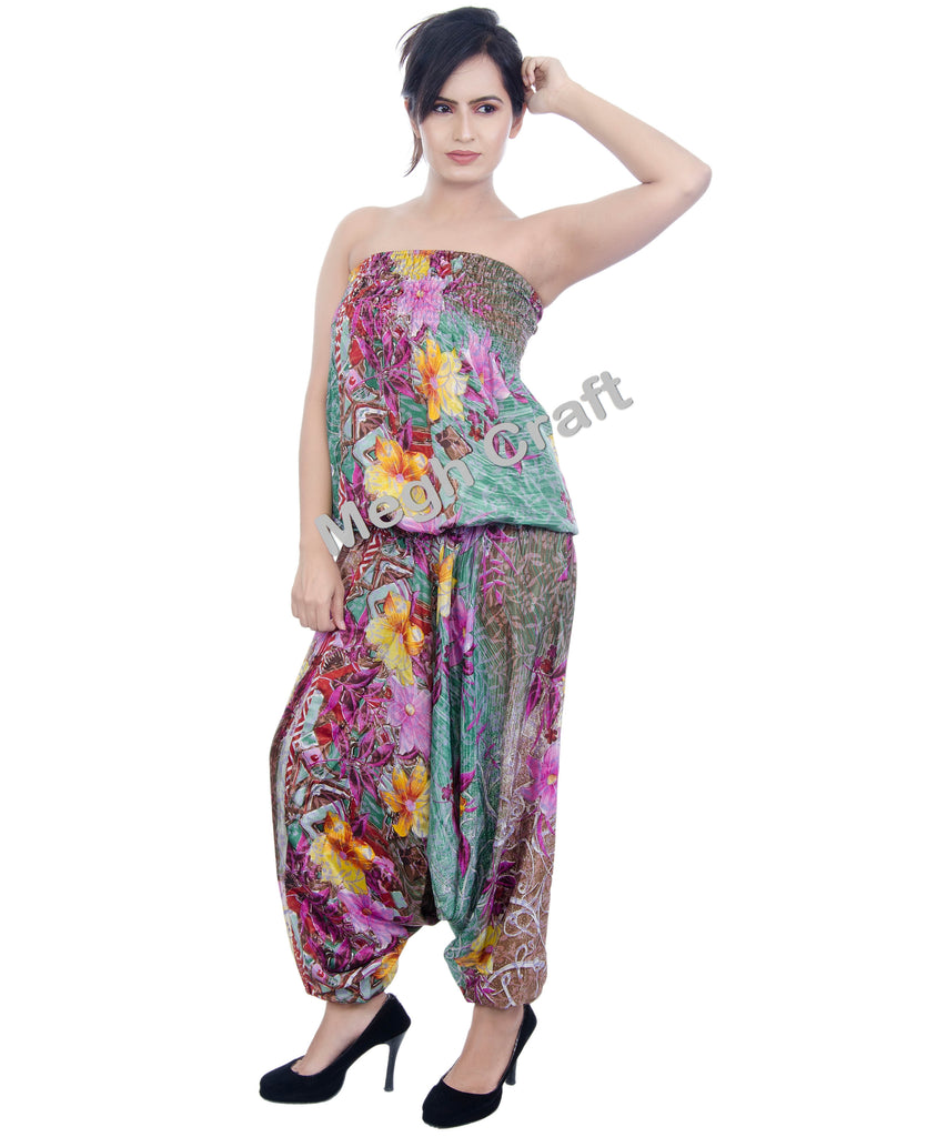 Silk Floral Design Jumpsuit