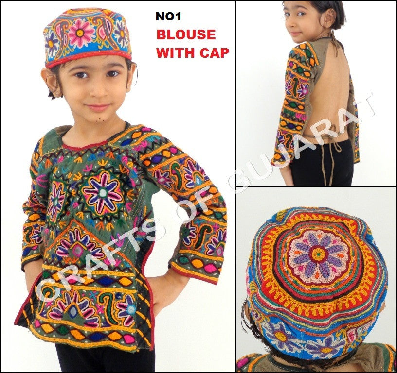 Gujarati Handmade Kutch Cap With Blouse