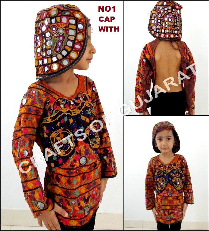 Cap With Gujarati Kutch Style Blouse