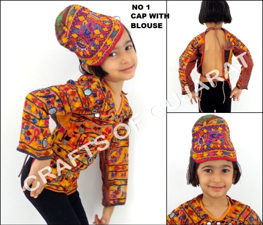 Vintage Kutch Embroidered Blouse With Cap