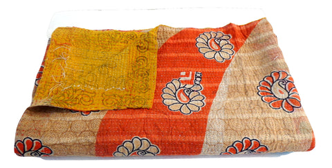 Indian Floar Print Kantha Throw Quilt Blanket