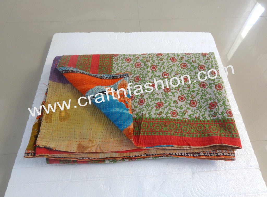 1960'S Hand Sewn Boho Kantha Throw