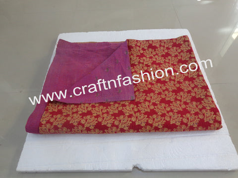 Vintage Tribal Cotton Printed Kantha Blanket