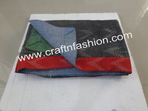 Kantha Bedspread Customized From Cotton Saree