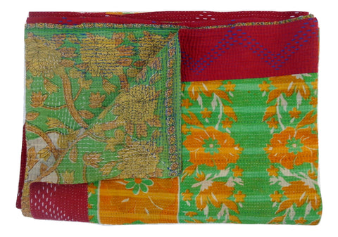 Kantha Quilt Indian Cotton Bedspread