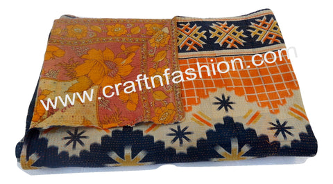 Indian Ethnic Hand Stitch Kantha Throw