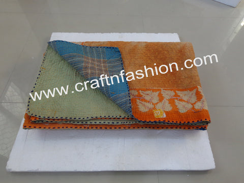 Handcrafted Indian Tradition Kantha Bedspread