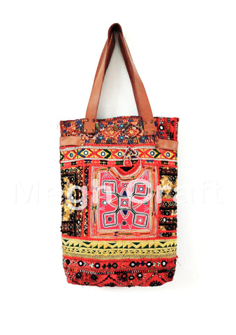 Designer Embroidered Mirror Work Leather tote Bag