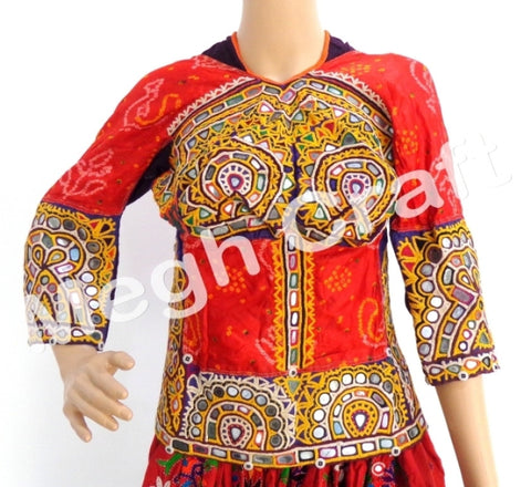 Tribal Gypsy Embroidery Mirror Work Back Lace Blouse