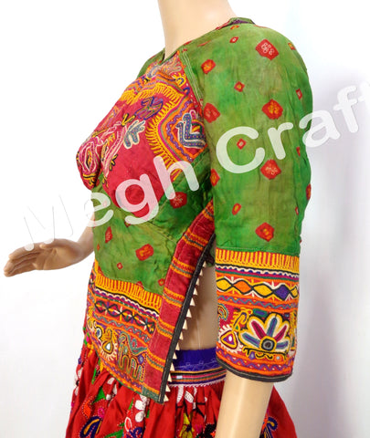 Vintage Banjara Style Mirror Work Blouse Top