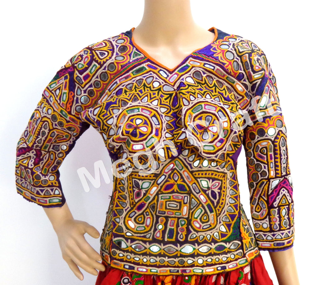 Vintage Boho Handmade Embroidered Mirror Kutch  Blouse