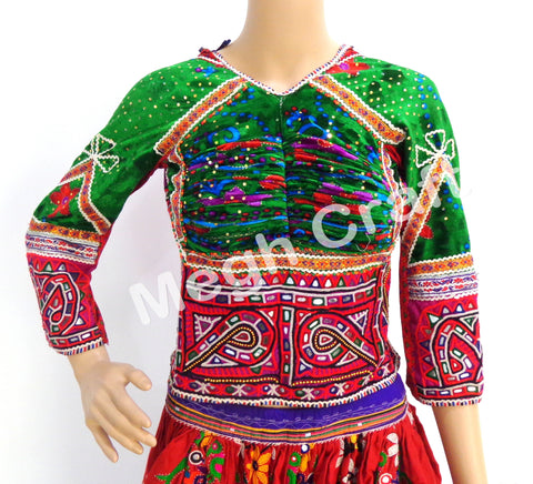 Back lace Tribal Hand Embroidered  Mirror Work Blouse