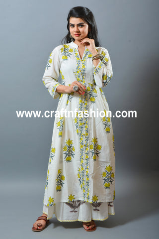 Peacock Design Embroidered Stole, Kurti & Palazzo