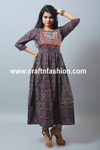 Ajrakh Print Cotton One Piece/Kurti