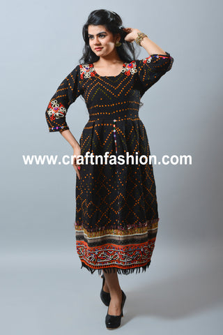 Black Colored Bandhej Cotton Kurti