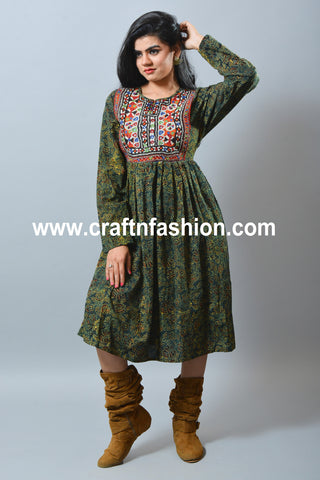 Ajrakh Print Dress With Kutch Yoke Neck