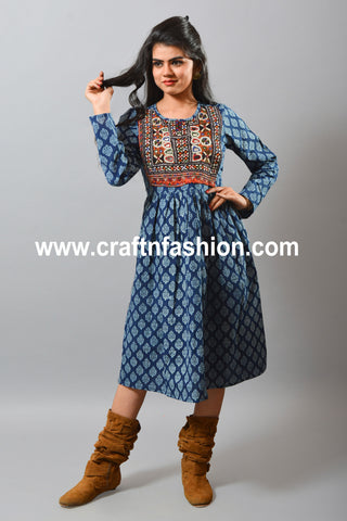 Embroidered Cotton Kurti - Indigo Hand Block Print