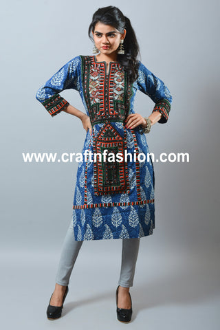 Indigo Hand Block Print Summer Wear Dress