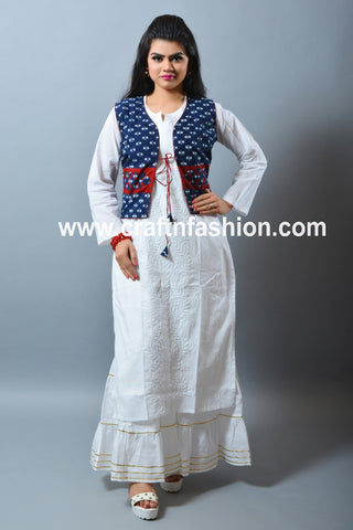 Chikankari Cotton Kurti-Applique Work Koti