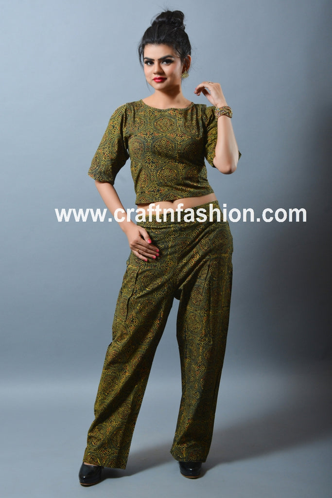 Summer Wear Ajrakh Top & Pant Set