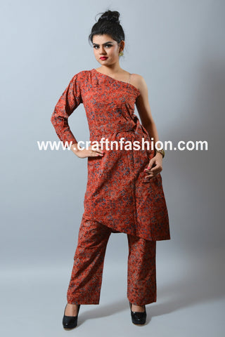 Ajrakh Print One Shoulder Top & Pant