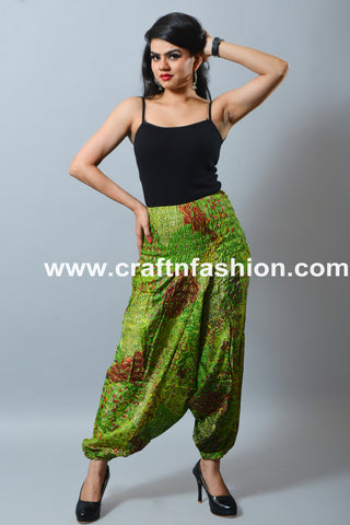 Multicolored Peacock Printed Cotton Summer Trouser