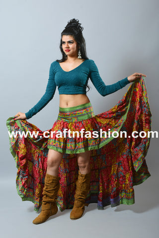 Floral Print Tribal Dance Wear Ibiza Skirt