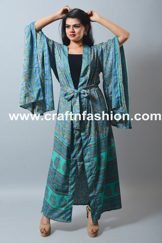 Silk Sari Made Beach Wear Dressing Gown