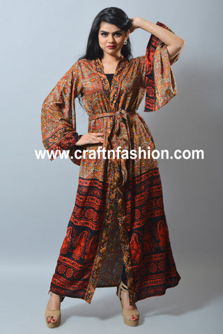Silk Sari Made Beach Wear Kimono