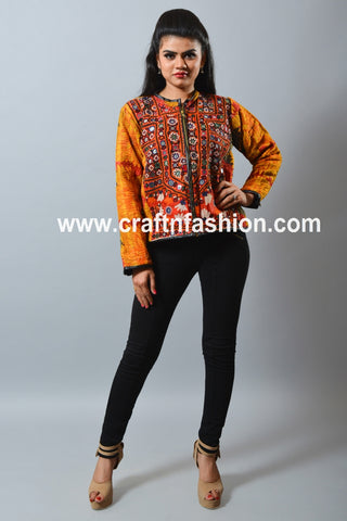 Kantha Quilted Navratri Wear Short Jacket