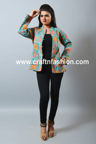 Bohemian Quilted Floral Print Jacket