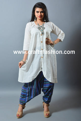 Cotton Kurti, Harem Pant & Tribal Necklace