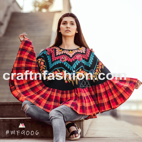 Designer Party Wear Embroidered Khadi Poncho Top