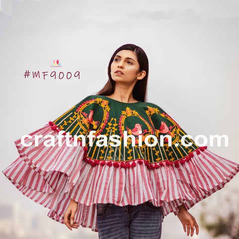 Multicolored Trendy Indo Western Embroidered Top