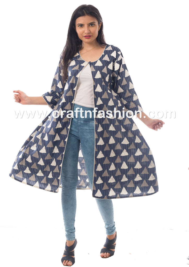 Ajrakh Hand Block Printed Designer Long Jacket.