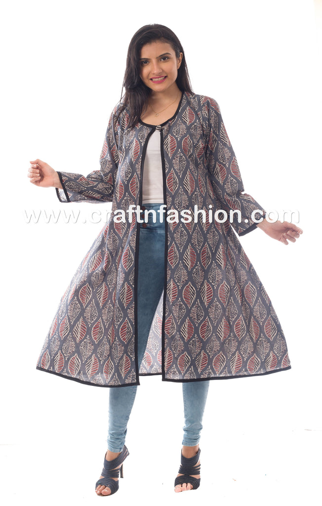 Leaf Printed Cotton Long Jacket.