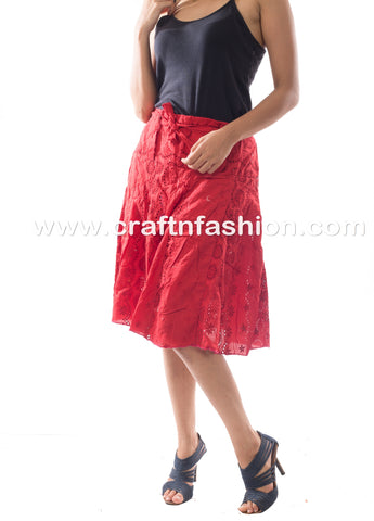 Knee Length Cotton Hakoba Embroidery Skirt