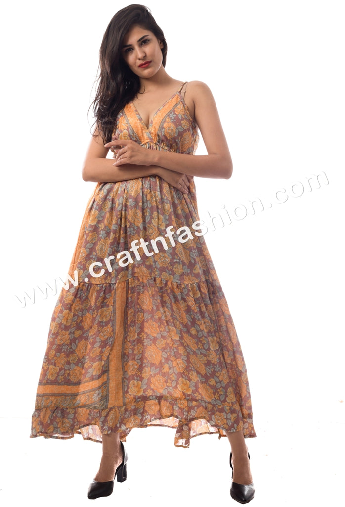 Indian Fusion Latest Designer Poly-Silk Maxi Dress.