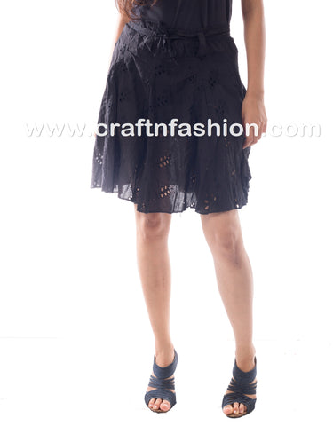 Black Hakoba ChikanKari Cotton Skirt