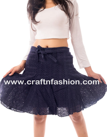 Designer Hakoba Embroidered Girls Mini Skirt