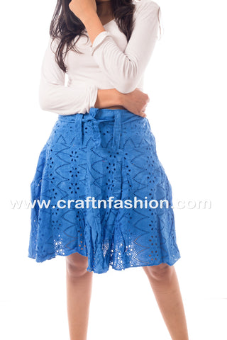 Blue Colored Knee Length Hakoba Skirt