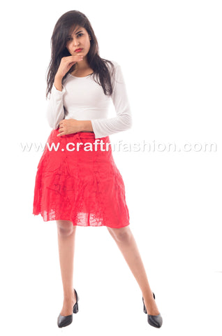 Beachwear Chikankari Hakoba Mini Skirt