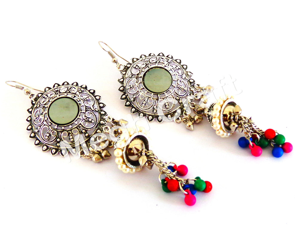 bollywood Style Silver Jhumka Earrings