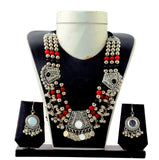 Oxidised Gujarati Mirror Necklace Set