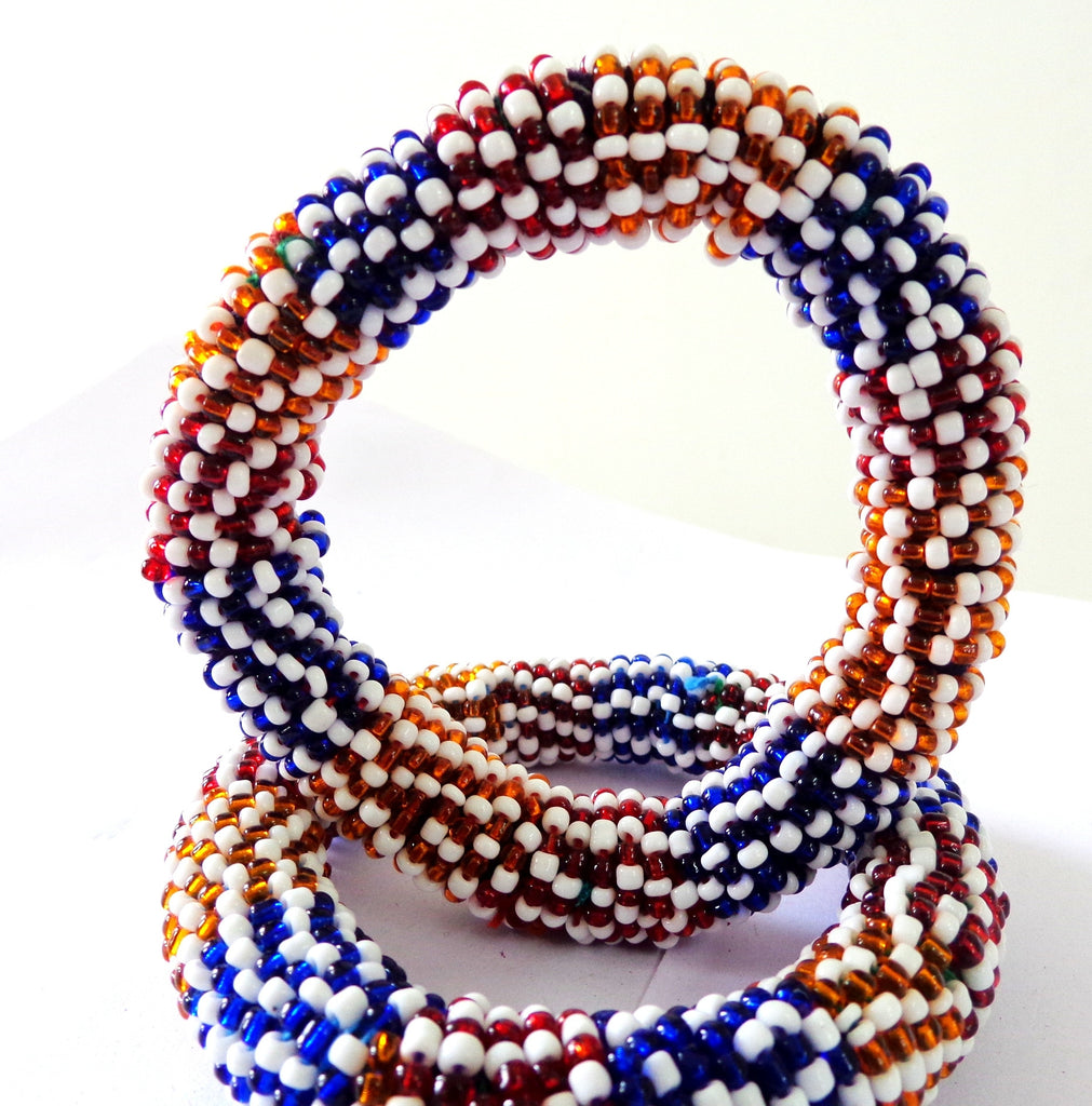 Vintage Handmade Glass Beaded  bracelet