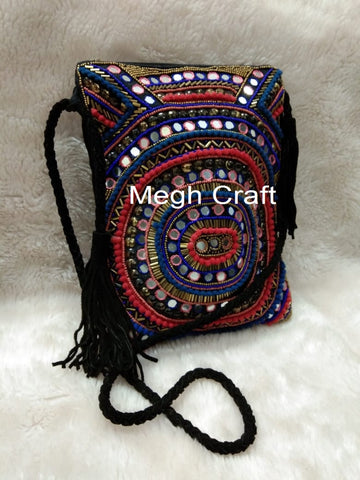 Mirror Work Pearl Beaded Multicolored Cross Body Bag