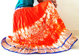 Orange Printed Navratri Skirt